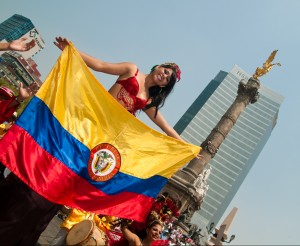 Colombian girl with flag
